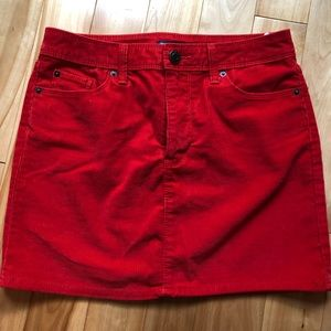 Gap Red corduroy mini skirt